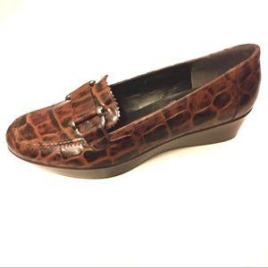 Stuart Weitzman Leather Crocodile Loafer Buckle 10